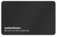 Plastikkarte 86x50mm 500µ mattschwarz
